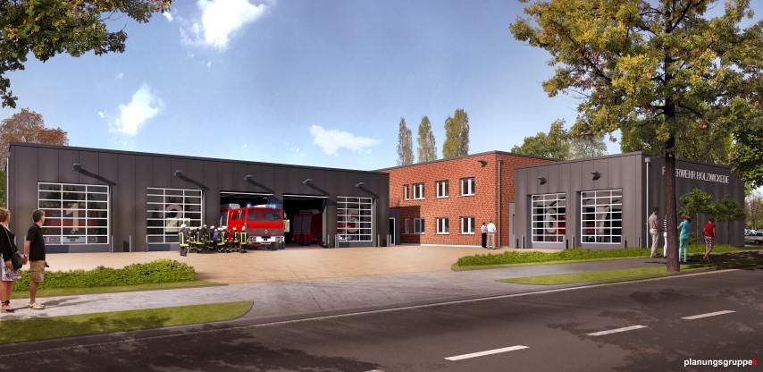 So soll sie aussehen, die neue Feuer- und Rettungswache Süd an der Unnaer Straße: Visualisierung des Architekturbüros Kemper. Das Büro plant im Auftrag der Gemeinde Holzwickede das rd. 3,5 Mio. Euro teure Projekt.
