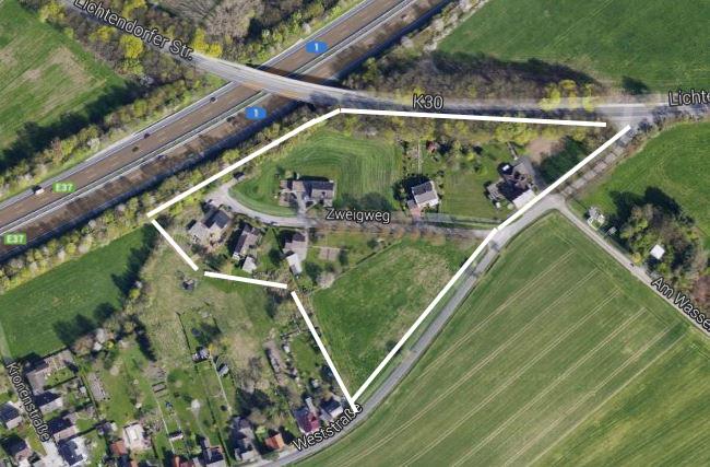 """Das geplante Neubaugebiet """"Weststraße"""" in Hengsen aus der Vogelperspektive. (Foto: googlemaps.de)"""