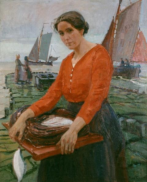 Norderneyer Fischersfrau mit Angelgerät, 1929, Öl auf Leinwand, von Poppe Folkerts. (Foto: Kreis Unna)