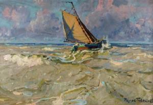 Tjalk in der Nordsee – Morgenstimmung, 1930, Öl auf Leinwand, von Poppe Folkerts. (Foto: Kreis Unna)