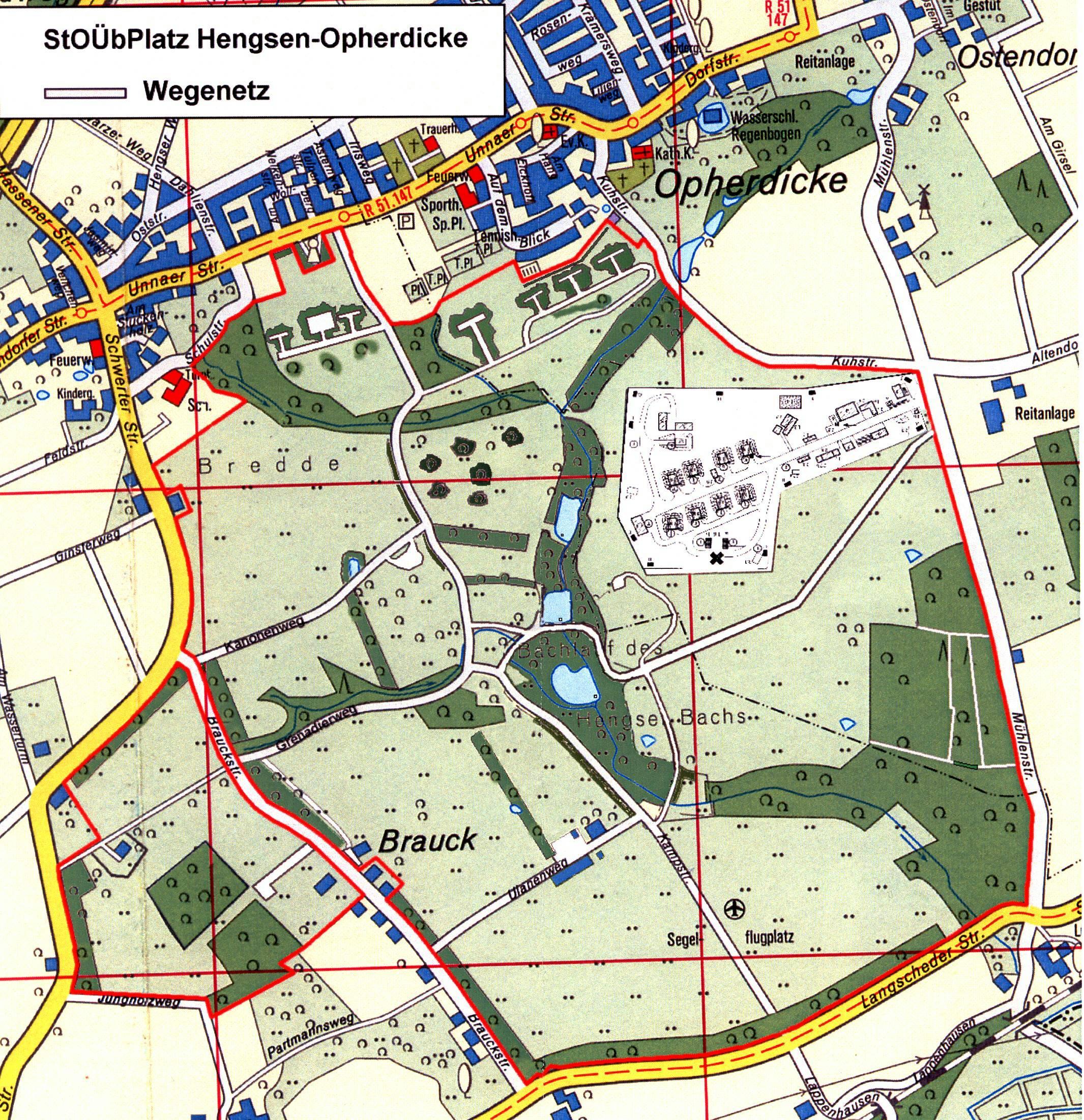 Diese Karte zeigt das Wegesystem auf dem Standortübungsplatz in Hengsen.