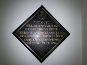 Im Besitz der Kirchengemeinde befndet sich diese Trauertafel zu Caspar Theodor Friedrich. Caspar Theodor wurde ausweislich des Kirchenregisters als uneheliches Kind (filius illegitimus) von Anna Maria Vieheler am 29.Juli 1794 getauft. (Foto: geschichtswerkstatt)