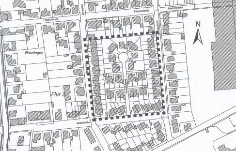 Der Geltungsbereich des Bebauungsplanes Mozartstraße, der nun geändert werden soll. (Skizze: Gemeinde Holzwickede)