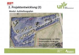 Im Ausschuss heute vorgestellte Planskizze: die blau schraffierte Fläche symbolisiert den Bereich des Sola5rparks auf dem Gelände der Raketenstation. (Repro: Enmscherblog)