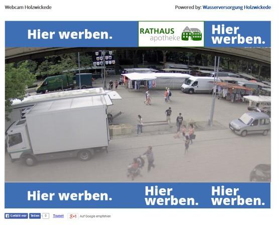 Seit gestern übertr#ägtr eine Webcam auf dem geböude der Wasserversorgung Bilder vom Holzwickeder Marktplatz ins weltweite Internet. (Foto: AKH)