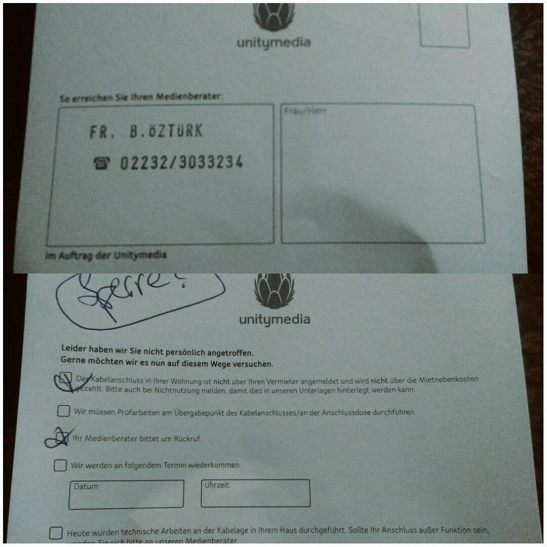 Einer der Hinweiszettel, die von Medienberatern der Unitymedia hinterlassen wurden und für Aufregung in Holkzwickede sorgen. (Foto: privat)