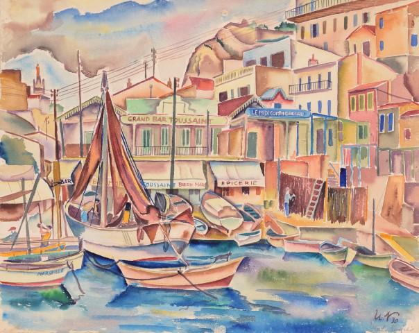 Eebenfalls in der Ausstellung zu sehen: .Ulrich Neujahr: Der kleine Hafen von Marseille (1930)