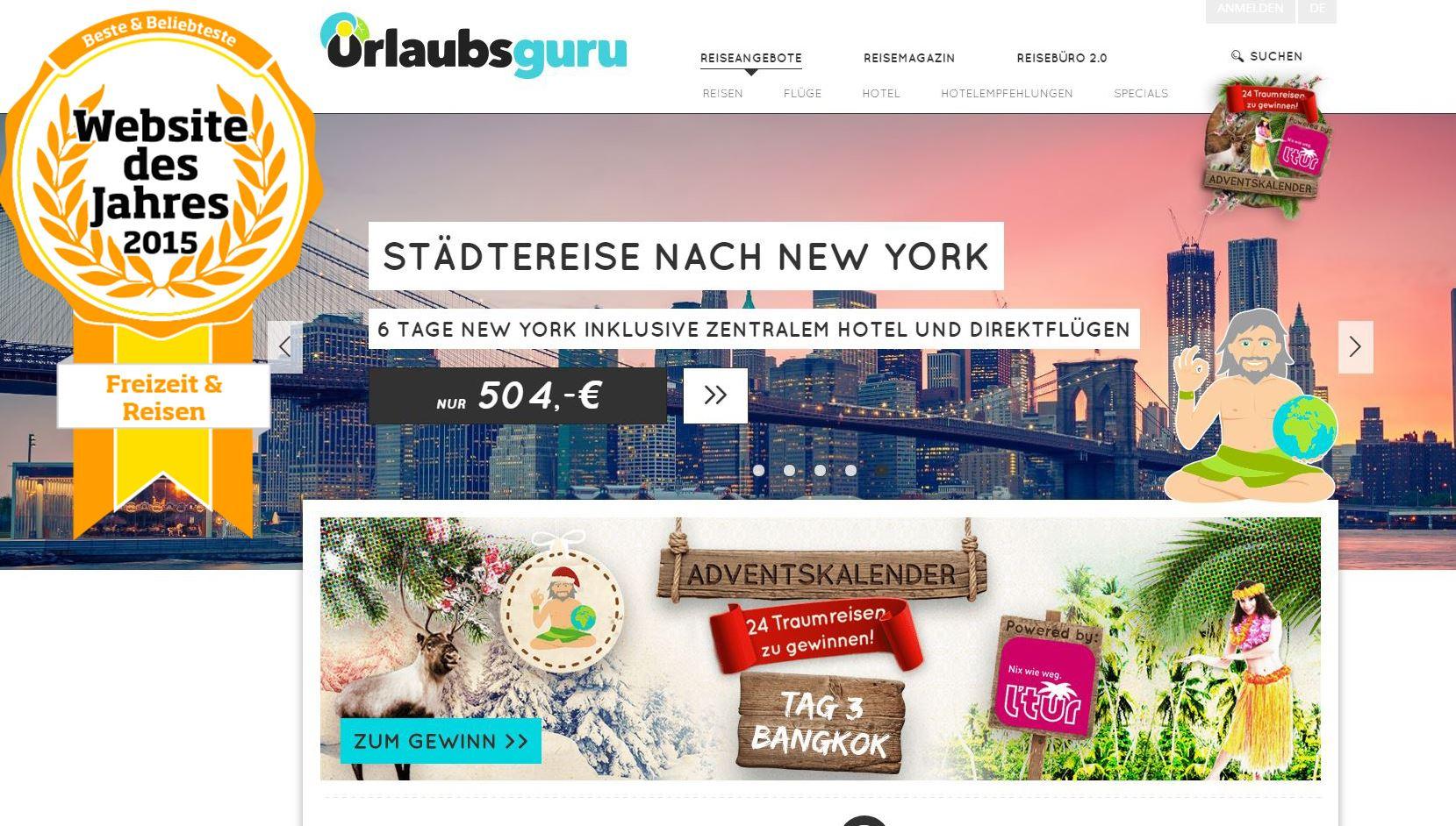 Zur besten und belibtesten Webseite Deutschlands 2015 gfewählt: der Internetaufttritt der Urlaubsgurus aus Holzwickede. (Screenshot)