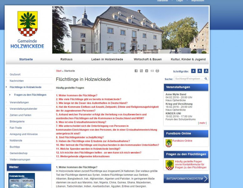Bestandteil des neuen Internetauftritts der Gemeinde Holzwickede: Fragen und Antworten zu den Flüchtlingen in der Gemeinde. (Screenshot)