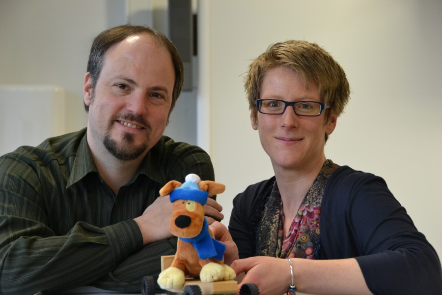 Freuen sich über den Erfolg von Flecki und den Sieg beim Google Award: Freuen sich, dass sie das Projekt nun umsetzten können: Matthias Müller und Anica Althoff. Foto: WFG (U. Heinze)