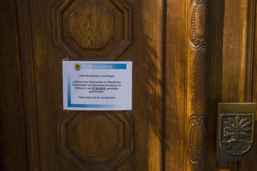 Das Rathaus bleibt am Mittwoch (27.4.) wegen des Warnstreiks geschlossen. (Foto: Peter Gräber)