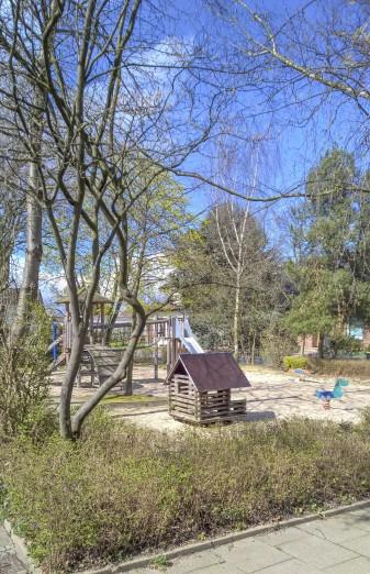 Die Bbäume linbks am Sßpielplatz Drosselstraße möchte eine Anliegerin gefällt oder beschnitten sehen. (Foto: (P. Gräber)