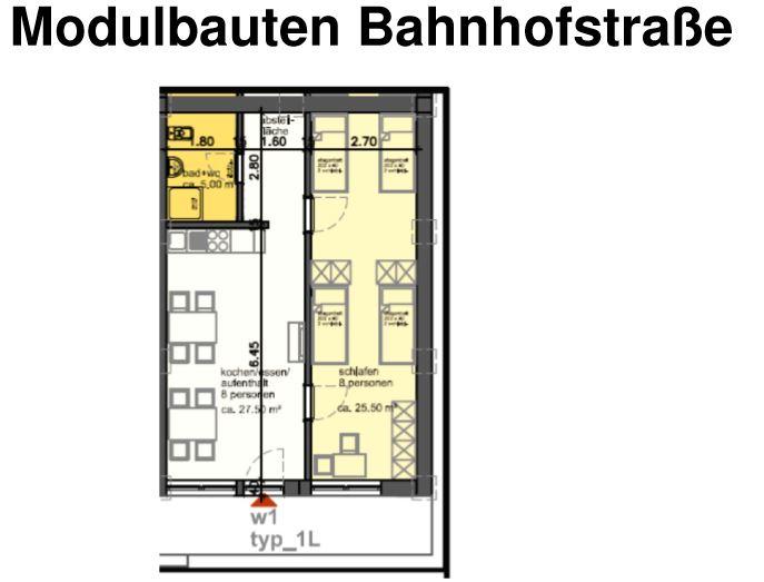 Diese Skizze zeigt, wie die einzelnen Einheiten mit jeweils achte Betten, Küche und Bad ausgestattet werden.