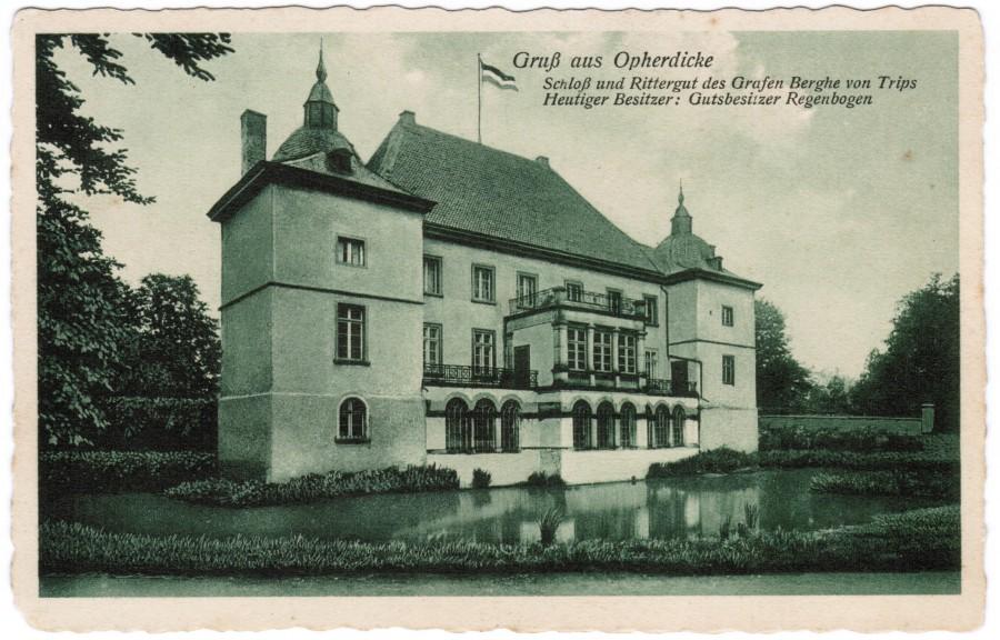 Motov des Monats Juni der geschiuchtswerkjstatt: diese Postkartenansicht aus den frühen 1920er Jahren zeigt die Südseite von Haus Opherdicke.