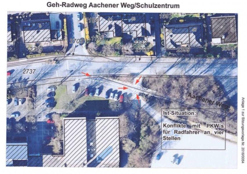 Diese Skizze der Gemeindeverwaltung zeiugt die Gefahrenpunjkte bei der Zufahrt zum Parkplatz am Sportplatz. (Repro: Gemeinde Holzwickede)