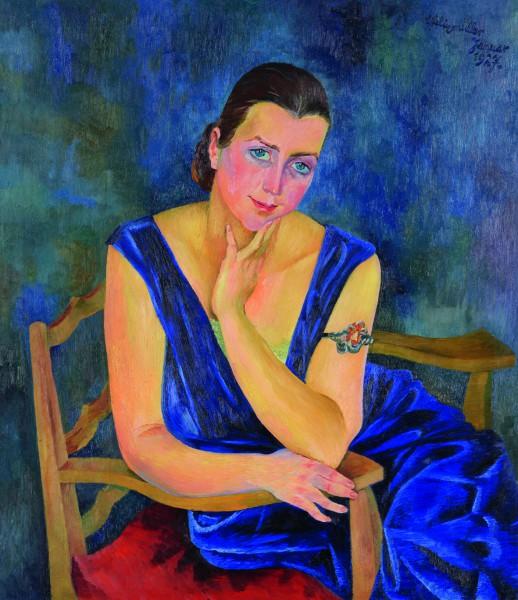 Conrad Felixmüller, Londa im blauen Samtkleid, 1927, Öl auf Leinwand. (Foto: VG Bild-Kunst, Bonn 201)