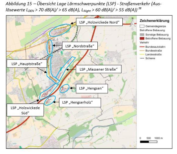 Diese Karte zeigt die Lärmschwerpunkte in Holzwickede. (Gemeinde Holzwickede)