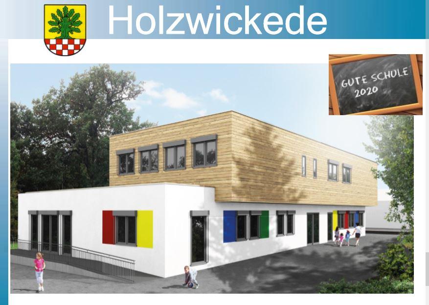So könnte er aussehen, der Anbau an der Paul-Gerhardt-Schule: Planskizze auf der Präsentation der Verwaltung zur Schule 2020 im Fachausschuss. (Entwurf: Gemeinde Holzwickede)