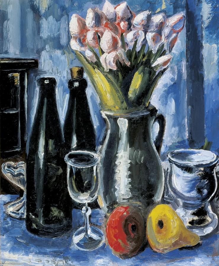 Paul Kleinschmidt, Stillleben mit Tulpen, Flasche und Glas, 1948, Öl auf Leinwand. Foto: Thomas Kersten