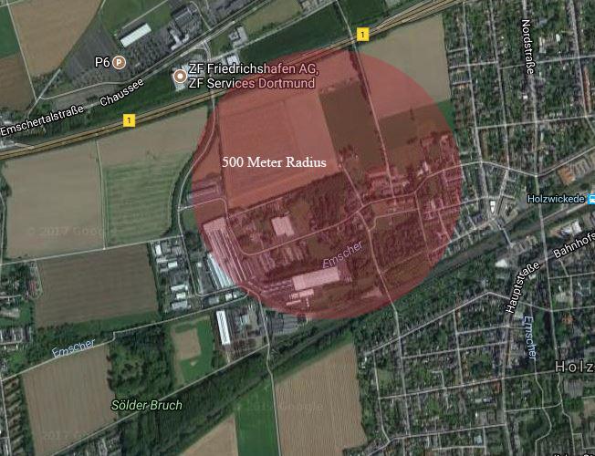 Diese Luftaufnahme zeigt den Radius von 500 Metern (rot), der für die Bombenentschärfung geräumt werden muss. (Foto: googlemaps.de/Emscherblog.de)