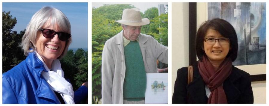 Daniel Gouby (l.), Pierre Demarly und Diem-Thuy Le Mai stellen ihre Werke im Bauhaus aus. (Fotos: privat)