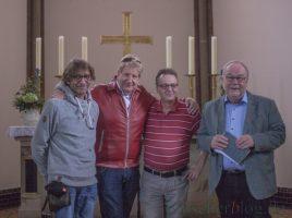Freuen sich auf das Soul-Konzert in der evangelischen Kirche am Markt:, v.l. Jörg Rost, Theo, Frank Brockbals (Veranstater) und Pfarrer Michael Niggebaum. (Foto: P. Gräber - Emscherblog.,de)