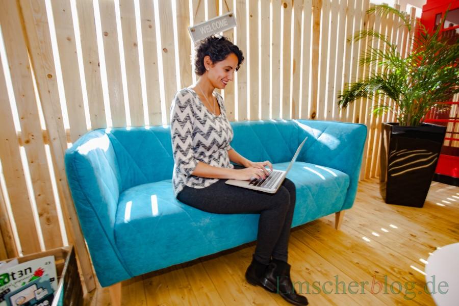 Bahar Sykes ist die erste Mitarbeiterin der großen Belegschaft der familienfreundlichen Urlaubsgurus, die ein Kind erwartet. (Foto: P. Gräber - Emscherblog.de)