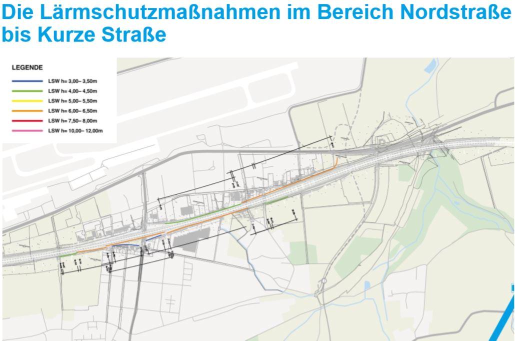 Diese Skizze zeigt die geplanten Lärmschutzmaßnahmen im Abschnitt Holzwickede. (Skizze: DEGES)