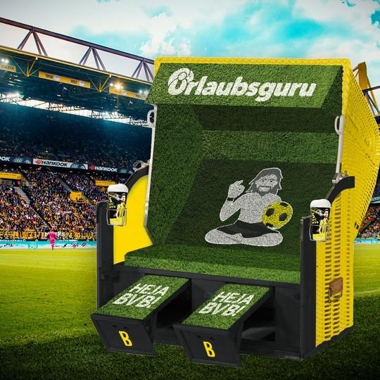 In diesem Urlaubsguru- Fankorb haben BVB-Fans die Chance, Heimspiele hautnah zu erleben. (Bild: UNIQ GmbH)