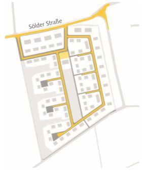 Diese Skizze zeigt die geplante innere Erschließung des Neubaugebietes. Die Erschließung erfolgt ausschließlich über die Sölder Straße. (Foto: Wilma)