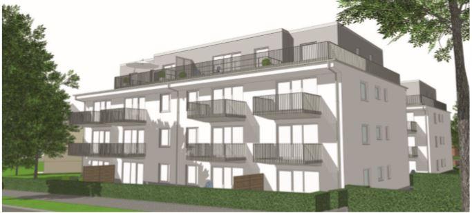 So sollen die öffentlich geförderten sechs Mehrfamilienhäuser mit ihren 66 WE (sozialer Wohnungsbau) im nördlichen Bereich des Wohnparks aussehen. (Foto: Wilma)