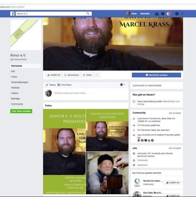 Screeshot der Facebook-Seite des Vereins Annur mit der Werbung für den Vortrag von Marcel Krass. Inzwischen ist die SDeite bereinigt worden.