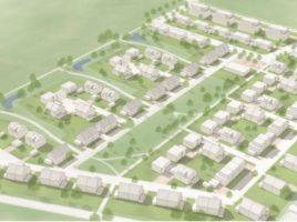 Planskizze des künftigen Wohnparks Emscherquelle aussehen: Auf dem freien Grünstreifen in der Mitte des Neubaugebietes soll die vierzügige Kita entstehen. (Foto: WILMA Wohnen West GmbH)