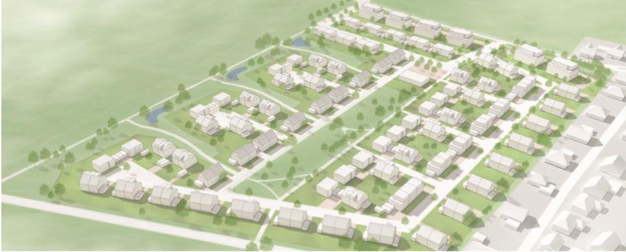 Diese perspektivische Darstellung zeigt den geplanten Wohnpark Emscherquelle mit den sechs Mehrfamilienhäusern an der Sölder Straße (oben re.) sowie dem Grünzug in der Mitte mit der zweizügigen Kita am nördlichen Ende und den Gruben zur Versickerung des Oberflächenwassers am linken Rand. (Foto: Wilma)