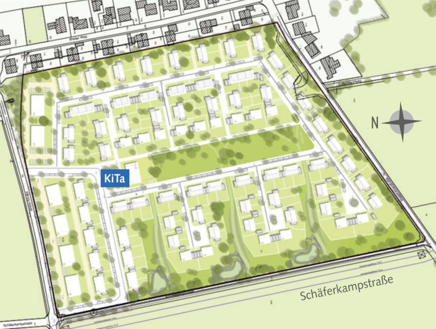 Diese Skizze zeigt das städtebauliche Konzept des Investors mit der Kita. (Foto: Wilma)