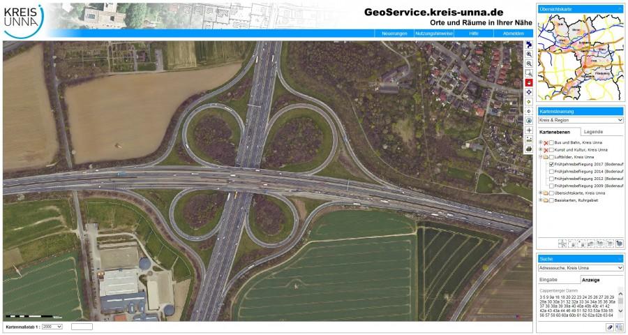 Ungewöhnliche Perspektive: Das Autobahnkreuz Dortmund-Unna aus der Luft. (Bild: Kreis Unna)