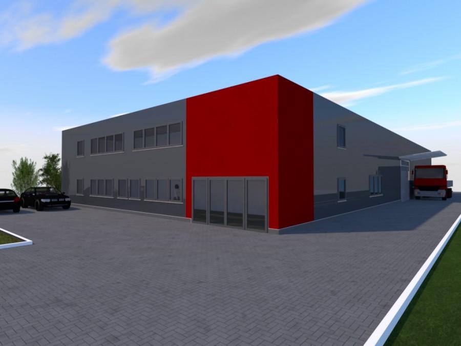 So soll der Neubau der Firma Ostermann aussehen. (Skizze: Architekt Jochen Grimm)