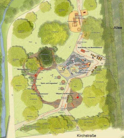 Diese Planskizze zeigt, wie der neue Spielplatz angelegt wird. Skizze: B.S.I. Landschaftsarchitekten)
