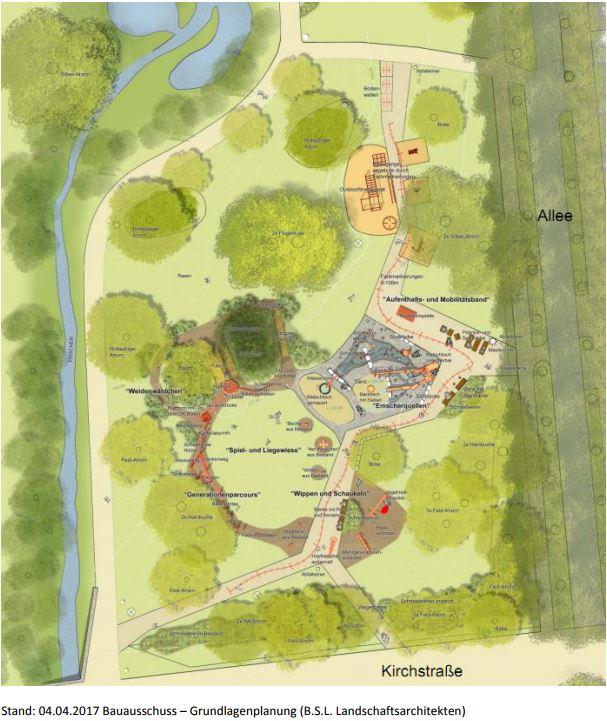 Der Auftrag für den Bau wurde heute im Rats vergeben: Planskizze für den neuen Mehrgenerationenspielplatz im Emscherpark. (Foto: B.S.L. Landschaftsarchitekten)