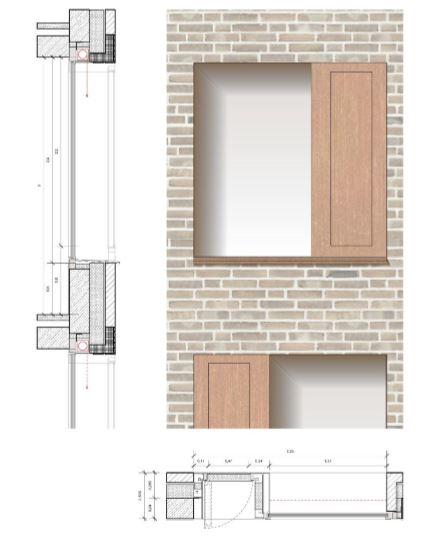 Die von den Architekten vorgeschlagene Fensterlösung. Die Fenster können nicht geöffnet werden. Die Lüftung erfolgt über das Sonnenschutz.Element rechts. (Entwurf: Bez + Kock Architekten / Gemeinde Holzwickede)