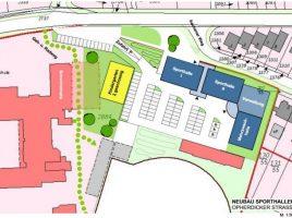 So könnte nach der Vision von HSC und TGH das neue Sportforum auf dem Parkplatz angesiedelt werden. (Skizze aus der Präsentation des HSC)