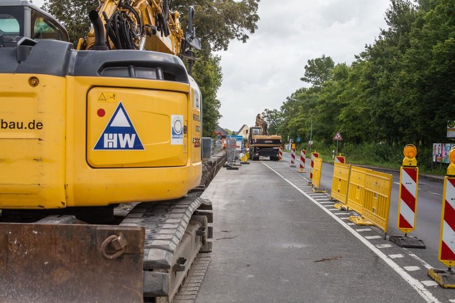 Bei Tiefbauarbeiten in der Großbaustelle in Hengsen wurde ein Stromkabel beschädigt. (Foto: P. Gräber - Emscherblog.de)