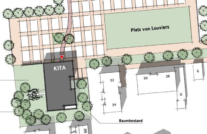 Mit dieser Planskizze verdeutlicht die Bürgermeisterin die Vorzüge des bereits vor 14 Monaten beschlossenen Kita-Standortes auf dem Festplatz. (Grafik: Gemeinde Holzwickede)