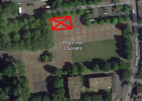 Die rot markierte Fläche bringen die Grünen als neuen Standort für die Kita auf dem Festplatz in die Diskussion. (Foto: Googlemaps.de)