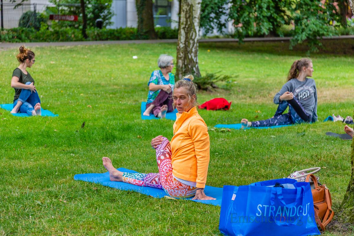 """Neben trockenen Informationen konnten sich Besucher auch aktiv beim """"Sport im Park"""" beteiligen. (Foto: P. Gräber - Emscherblog.de)"""