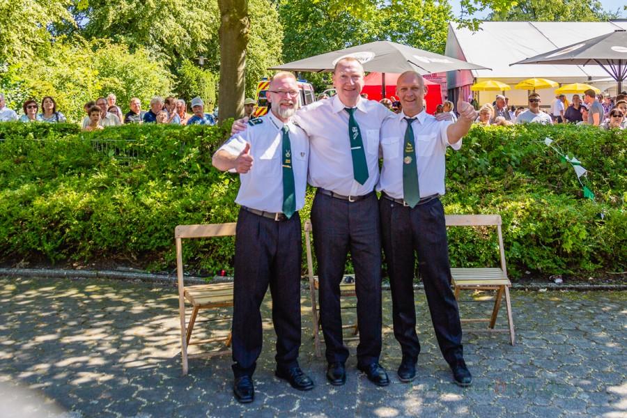 Die drei Königsanwärter vor dem Wettkampf, v.l.: Michael Fischer, Joachim Bachmann und Andreas Gawlowski. (Foto: P. Gräber - Emscherblog.de)