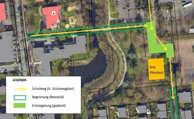 Diese Skizze der Gemeinde zeigt die von der Verwaltung vorgeschlagenen Ausgleichsmaßnahmen für den Kita-Neubau.