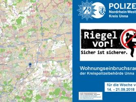 Seltenes Bild: Der Wohnungseinbruchradar der Polizei zeigt KEINE Wohnungseinbrüche in Bergkamen, Bönen, Kamen, Fröndenberg, Schwerte, Selm, Unna und Werne.