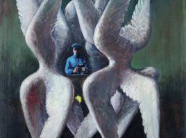 : Ein Bild von Edgar Ende – surreal und fantasievoll: Edgar Ende, Linie unendlich, 1951, Öl auf Leinwand, 89,5 x 70 cm, Sammlung Horn, Berlin, (Foto: Thomas Kersten, © Michael Ende Erben/VG Bild-Kunst, Bonn 2018.)
