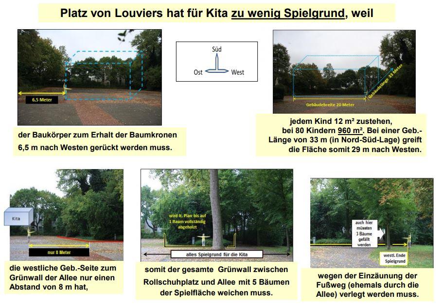 Mit dieser Skizze, die als Anlage dem Schreiben an die Fraktionen und Bürgermeisterin beigefügt war,  wollen die Anlieger verdeutlichen:  Auch beim Bau der Kita auf dem Festplatz müssten mindestens acht Bäume gefällt werden.